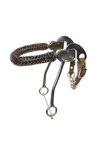 AceRugs Hackamore BRIDLES for Horses BITLESS BIT Chromed Steel Shanks Leather Braided Nose Band TACK with Curb Chain (Horse)