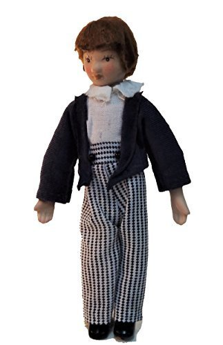 Melody Jane Dollhouse Victorian Boy in Stripe Pants Miniature Porcelain People