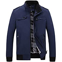 GOVOW Men's Autumn Winter Tooling Jacket - Plus Size Casual Long Sleeve Solid Zipper Top Blouse(US:8/CN:L,Blue)