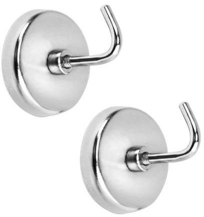 2-Piece ALAZCO Extra-Strong Magnetic Hook Set - 8 Lb Capacity Quality Chrome Plated For Tools, Keys. Towels, Utensils