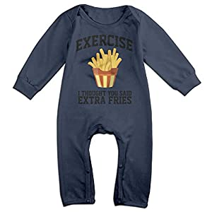 JOYJUN I Thought You Said Extra Fries New Unisex Baby 1 Pack Long Sleeve Onesies