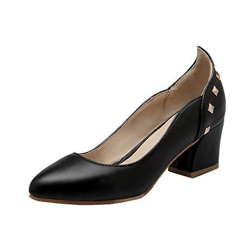 ENMAYER Womens Convenient Mid Cone Heel Pumps With Rivets Black HZsEfxo