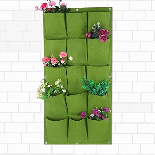 Macetero Contenedor 15 Bolsillos Degradable Vertical Colgante de Pared Maceteros Jardín Patio Balcón Planta Bolsa de Cultivo Verde: Amazon.es: Hogar
