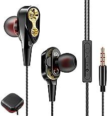 CoWalkers Audífonos con Cable, Controladores Dinámicos duales Auriculares con Cancelación de Ruido, Audio HiFi y Graves Profundos para iPhone, teléfonos celulares con Android (Negro)