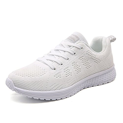 Gwendolynarnett Comfortable Fashion New Convenient Show Women's Fashion Lightweight Athletic Running Shoe Casual Sport Sneakers (7, White)