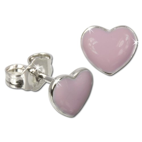 Tee-Wee earring heart pink enameled, 925 Sterling Silver SDO601A
