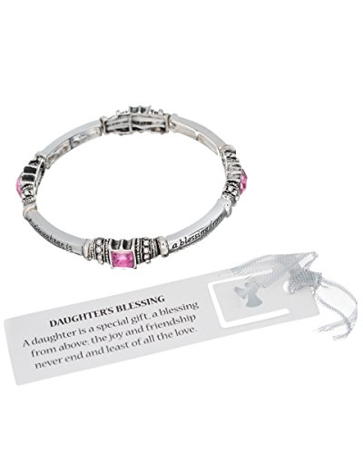 Jewelry Nexus Silver-tone Daughters Blessing Pink Stone Bracelet with Bookmark ()
