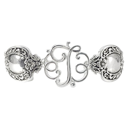 Gypsy Jewels Spoon Handle Style Monogram Initial Silver Tone Magnetic Clasp Bracelet (Letter T)