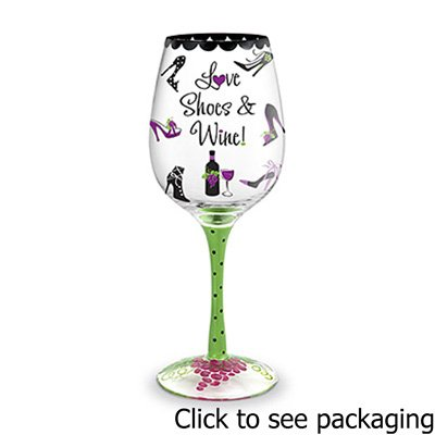 Epic 93-359 16 Oz Meticulous Hand-Decorated Love Shoes & Wine Glass Collectible Glass Shoes