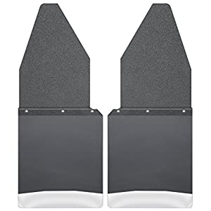 Husky Liners Kick Back Mud Flaps 12IN Black Top/SS Wt Fits 88-18 F150/250