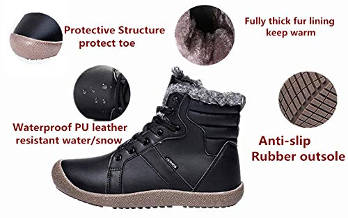 Picture of XIDISO Snow Boots Women Anti-Slip Waterproof Outdoor Winter Fur Lined Womens Ankle Booties