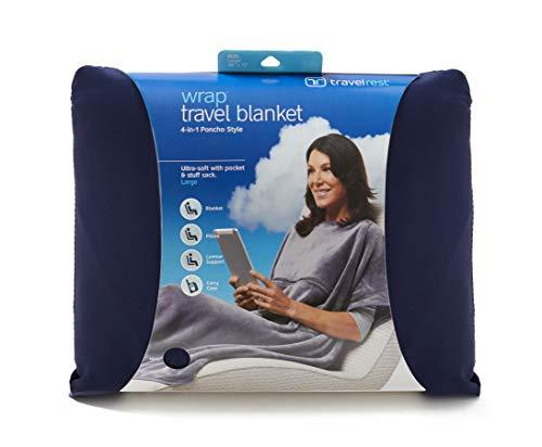 Travelrest Travel Blanket 4-in-1 with Poncho, Zippered Pocket & Stuff Sack