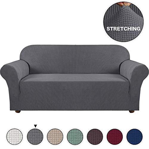 (Turquoize Grey Sofa Slipcover High Spandex Jacquard Sofa Cover/Lounge Covers/Couch Covers 1 Piece Couch Covers for 3 Seater Cushion Sofa Cover for Living Room, Sofa Cover Stretch (Sofa, Grey))