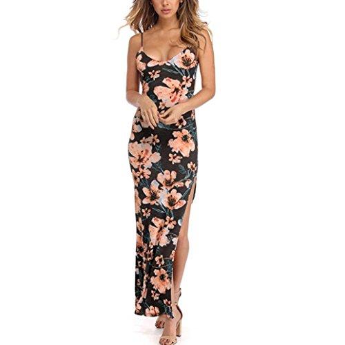 Vestido Mujer ♛JiaMeng Vestido Largo Bodycon sin Espalda con Estampado de Flores y Fiesta Floral sin Mangas para Mujer Gris