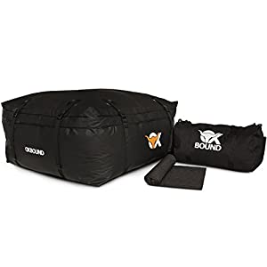 """OXBOUND Roof Rack Cargo Bag - Waterproof Car Top Carrier (15 Cubic Ft) Measures 37.5"""" x 37.5"""" x 18""""+ Free Protective Roof Pad Mat and Storage Duffel"""