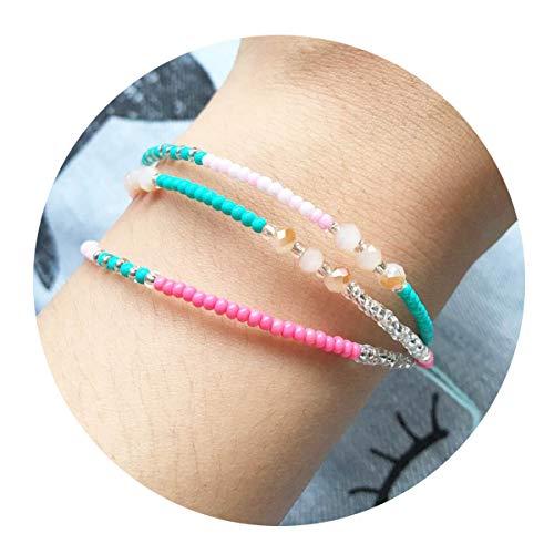 choice of all 3 Pcs Summer Surfer Wave Bracelet Adjustable Friendship Bracelet Handcrafted Jewelry Women (D:3 Layer Colorful Bead) (Adjustable Bracelet Charm Bracelet)