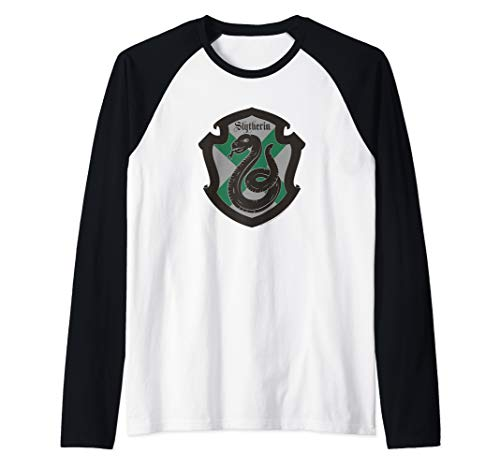 (Harry Potter Sytherin Shield Crest Raglan Baseball Tee)