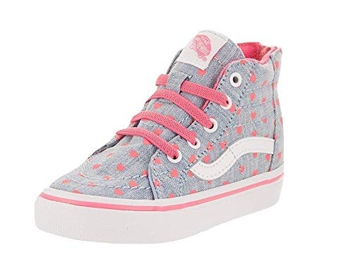 Vans Toddlers Sk8-Hi Zip (Chambray Hearts) Blue/True White Skateboarding Shoes VN0A32R3MLA (4.5 M US Toddler)