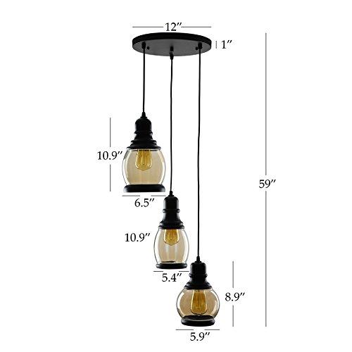 CO-Z 3-Light Cluster Chandelier Pendant, 3 Glass Jar Hanging Pendant Ceiling Lighting Fixture, Antique Black Mason Jar Pendant Light for Kitchen Island Dining Table Bar Counter Bedroom by CO-Z (Image #6)