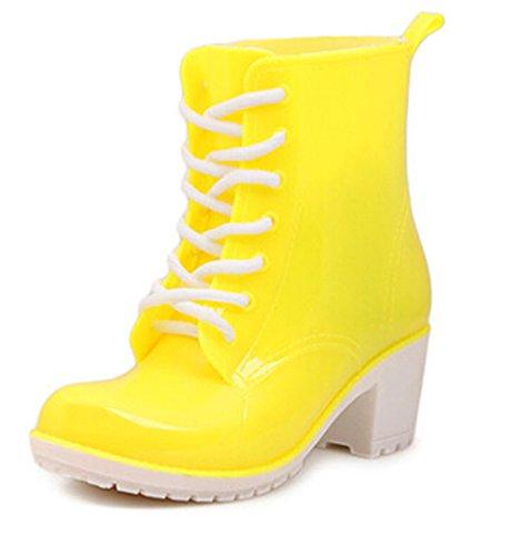 KISS GOLD(TM)Girl's Fashion Marten Jelly Rain Boots Rain Shoes (Yellow Gold Footwear)
