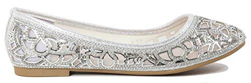 Glitter on Rhinestone Women Shoes Mesh silver Flats Walstar Flats Mesh Slip 0xt6qHBwB