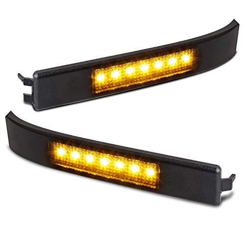 Side Reflector - RUXIFEY LED Side Mirror Reflector Turn Signal Light Smoked lens Compatible with 2009 to 2014 Ford F150