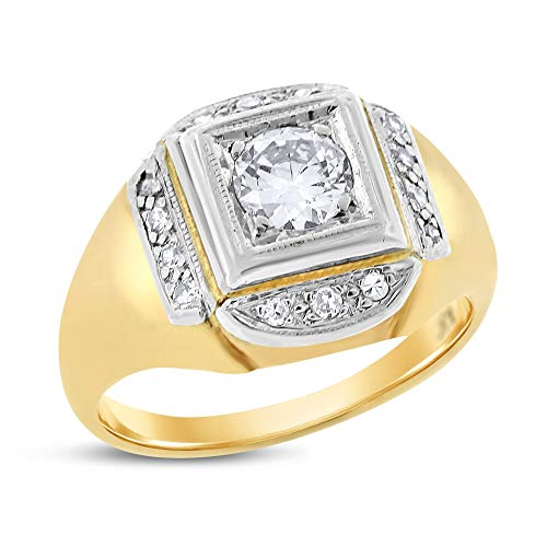 (0.65 Ct. Vintage Estate Natural Diamond Euro Cut Ring in Solid 14k Yellow Gold)