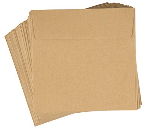 Juvale 60-Pack Kraft Square Envelopes - 5.5 x 5.5 Square Flap Envelopes for Invitations, Announcements, Photos, Weddings, & Thank You Notes, Brown, 120GSM Paper ()