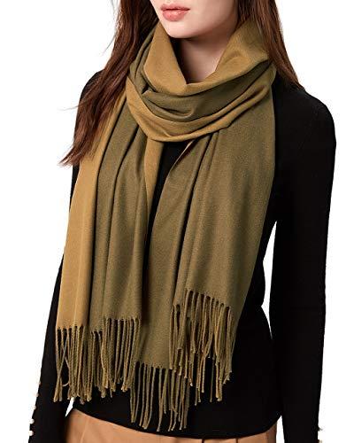 MaaMgic Womens Pashmina Scarfs Winter Cashmere Feel Shawls Wraps Scarf Warm Stole, Olive and Dark Olive