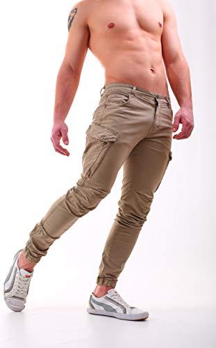 W7 Cargo Laterali Zip Uomo Fit Instinct Pantaloni Con Tasconi Slim Khaki Tasche wvZnAgq