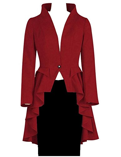 ng Fishtail Flared Ruffle Gothic Victorian Tail Coat Jacket Red (Ladies Satin Tailcoat)