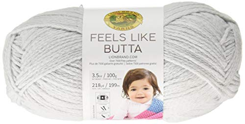 Lion Brand Yarn 215-149 Feels Like Butta Yarn, Pale Grey