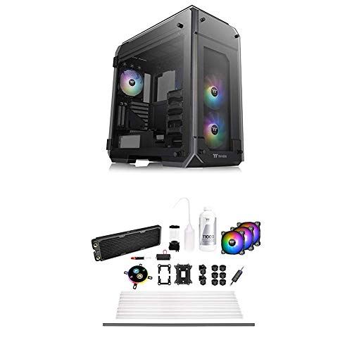 Thermaltake View 71 Motherboard Sync ARGB 4-Sided Tempered Glass Vertical GPU Modular E-ATX Gaming Full Tower Computer Case and Pacific C360 Ddc Res/Pump 5V Motherboard Sync Copper Radiator