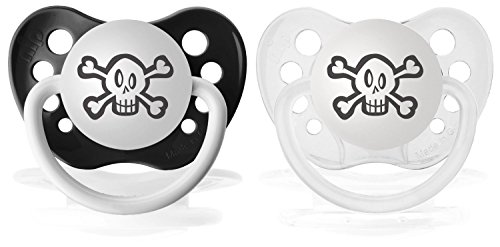 Ulubulu Expression Pacifier Skull Bundle, Black and Clear