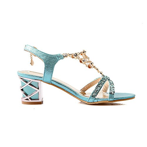 Toe Heels Kitten Buckle Open Blue Solid Sandals Womens AllhqFashion Pu xYqIRS6