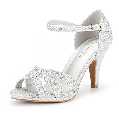 DREAM PAIRS Women's Amore_1 Silver Glitter Fashion Stilettos Open Toe Pump Heel Sandals Size 7 B(M) US