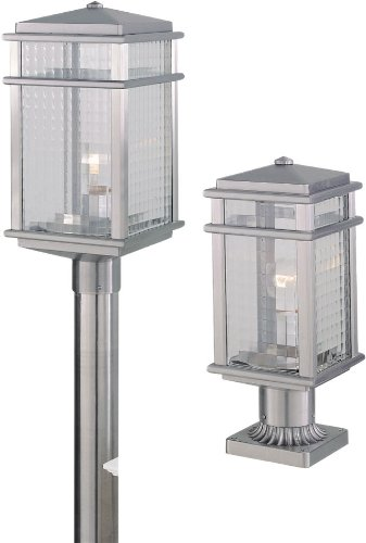 Feiss OL3407BRAL Mission Lodge Outdoor Post Lighting, Satin Nickel, 1-Light (7″W x 16″H) 150watts