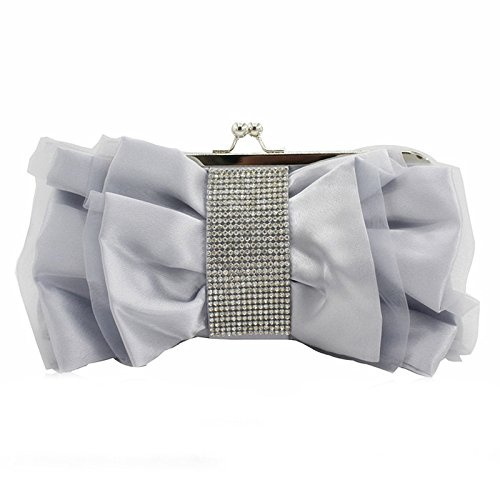 satin Satin hand Evening bag Diamond Diamond silvery bag Bag color dress fold Champagne bride wedding evening cloth wire bag 686wEq0