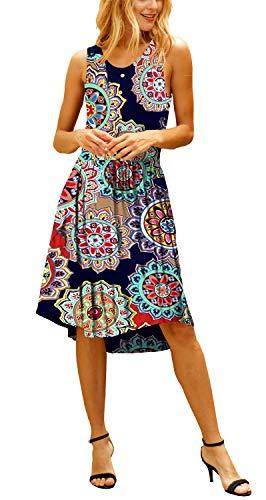 ELF QUEEN Women's Dresses Sleeveless Formal Party Dress Floral Print Skirt Multi Flower Small