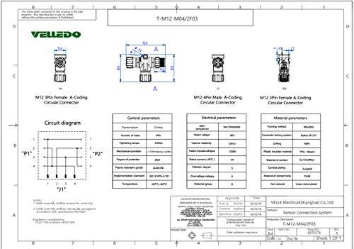VELLEDQ Industrial Field-wireable M12 T Type Splitter Sensor ... on