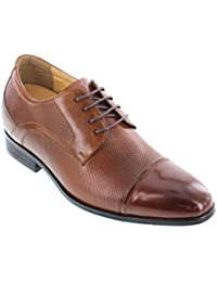 Y40201-3 inches Taller - Height Increasing Elevator Shoes - Brown Leather Lace-up Dress Shoes