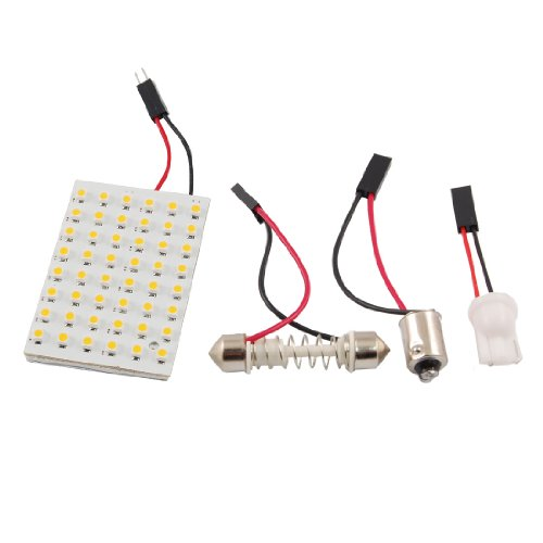 uxcell Warm White 48 LED Panel 3528 SMD Dome Light Lamp + T10 BA9S Festoon Adapter