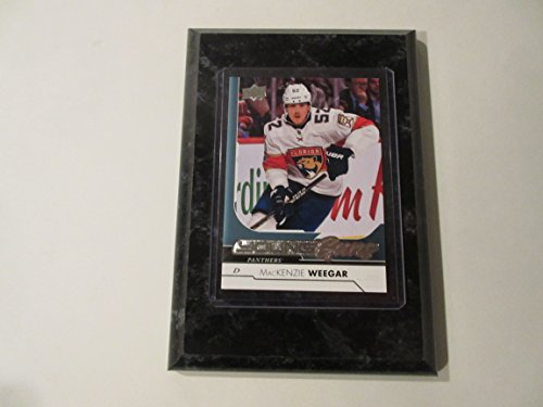 MacKENZIE WEEGAR FLORIDA PANTHERS 2017-18 UPPER DECK NHL YOUNG GUNS PLAYER CARD MOUNTED ON A 4