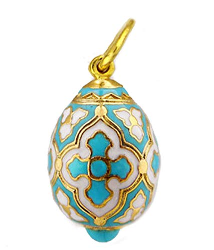Religious Gifts Turquoise Silver Gold Tone Russian Egg Pendant with Cross 1 Inch