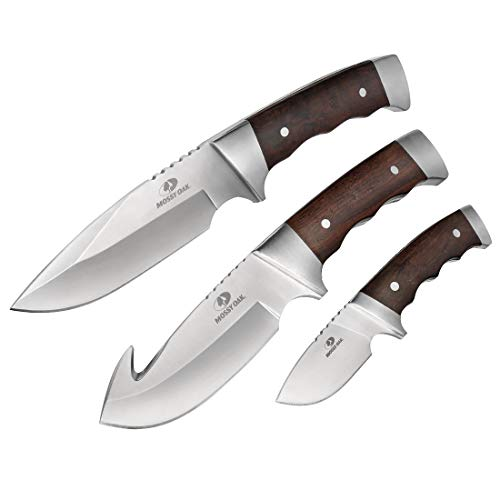 MOSSY OAK Fixed Blade Hunting Knife Set 3-Piece, Wood Handle Straight Edge and Gut Hook Blades - Set Game Knife Small
