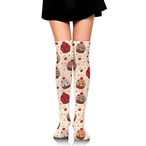 (MC WUAHW Womens Knee High Long Tube Socks Cherry Cupcakes Crazy Stockings For Football)