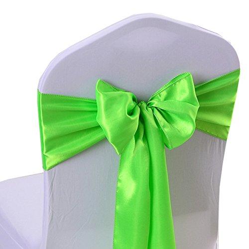 iEventStar Satin Sash Chair Bow Cover Wedding Banquet Party Decoration (10, Bright Green)