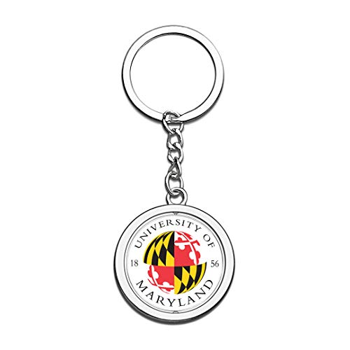 University of Maryland College Park UMD UMCP Badge Keychain 3D Crystal Creative Spinning Round Stainless Steel Keychain Travel Souvenir Key Chain -