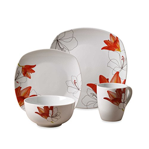 Tabletops Gallery Lily - Square White Porcelain 16 Piece Dinnerware Set - Leaf 16 Piece Set