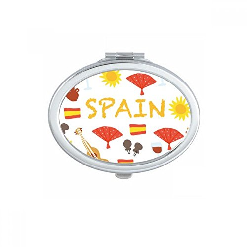 Spain Flamenco Music Food Oval Compact Makeup Pocket Mirror Portable Cute Small Hand Mirrors Gift by DIYthinker